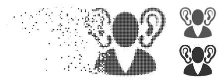Gray vector listener icon in dispersed, pixelated halftone and undamaged whole variants. Square dots are used for disintegration effect. Particles are combined into dispersed listener pictogram.