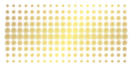 Hypnosis icon gold colored halftone pattern. Vector hypnosis shapes are arranged into halftone matrix with inclined golden gradient. Designed for backgrounds, covers, templates and bright effects.