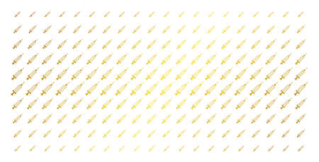 Syringe icon gold halftone pattern. Vector syringe objects are organized into halftone matrix with inclined gold color gradient. Constructed for backgrounds, covers, templates and luxury effects.