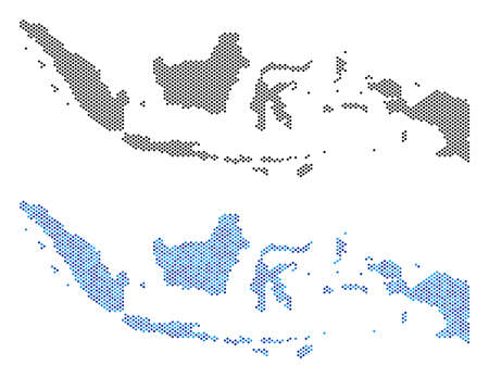 Illustration pour Dotted Indonesia map variants. Vector territorial plans in black color and blue color variations. Abstract concept of Indonesia map composed from circle pixel pattern. - image libre de droit