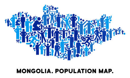 Vector Population Mongolia Map Demography Collage Of