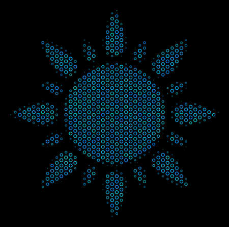 Halftone Sun composition icon of empty circles in blue color tones on a black background. Vector circle bubbles are arranged into sun composition.