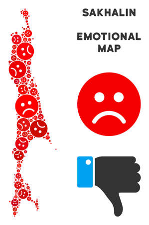 Emotional Sakhalin Island map composition of sad smileys in ...
