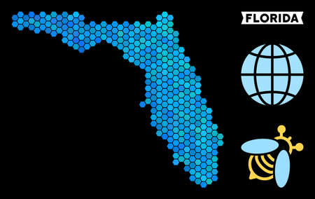 Blue Hexagon Florida map. Geographic map in blue color tinges on a black background. Vector pattern of Florida map organized of hexagon items.