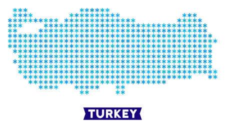 Winter Turkey map. Vector geographic plan in blue winter ...
