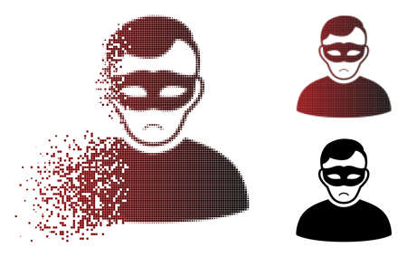 Sad anonymous person icon in dispersed, pixelated halftone and undamaged solid variants. Pieces are combined into vector disappearing anonymous person pictogram. Person face has sad expression.