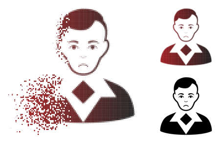 Dolor man icon in dispersed, pixelated halftone and undamaged entire versions. Particles are organized into vector dispersed man pictogram. Person face has problem mood.
