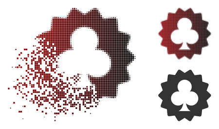 Clubs token icon in dispersed, pixelated halftone and undamaged whole versions. Pixels are organized into vector dispersed clubs token icon.
