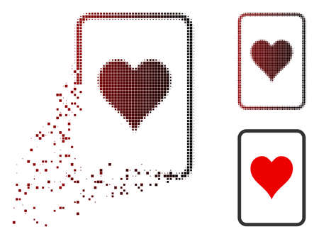 Hearts gambling card icon in sparkle, pixelated halftone and undamaged whole versions. Elements are composed into vector disappearing hearts gambling card figure.