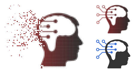 Neural interface circuit icon in dispersed, pixelated halftone and undamaged entire versions. Points are arranged into vector sparkle neural interface circuit icon.