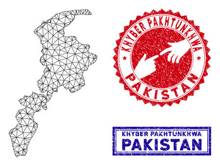Pakistan map in geometric polygonal style  Abstract gems
