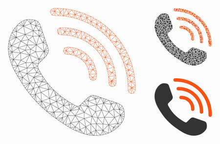 Illustration pour Mesh phone call model with triangle mosaic icon. Wire carcass triangular mesh of phone call. Vector composition of triangle elements in various sizes, and color tones. Abstract flat mesh phone call, - image libre de droit