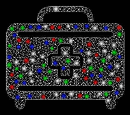 Bright mesh medical baggage with glare effect. White wire frame triangular mesh in vector format on a black background. Abstract 2d mesh designed with triangles, dots, colored flare spots.