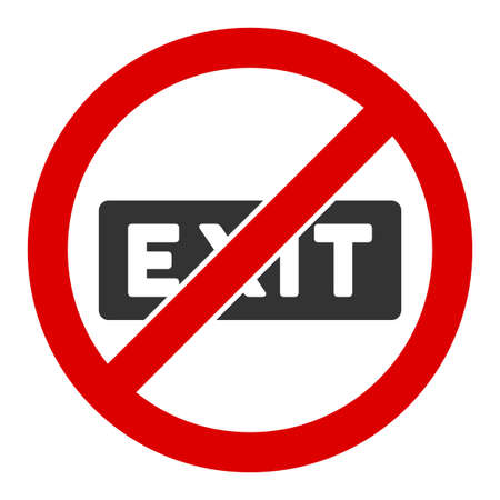 No evacuation raster icon. Flat No evacuation pictogram is isolated on a white background.