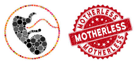 Mosaic pregnancy and rubber stamp seal with Motherless phrase. Mosaic vector is composed with pregnancy icon and with random round elements. Motherless seal uses red color, and grunged design.