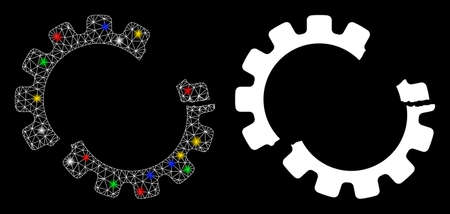 Illustration for Glossy mesh gear crash icon with glitter effect. Abstract illuminated model of gear crash. Shiny wire frame polygonal mesh gear crash icon. Vector abstraction on a black background. - Royalty Free Image