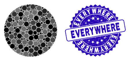 Mosaic circle icon and grunge stamp watermark with Everywhere text. Mosaic vector is designed with circle icon and with random spheric elements. Everywhere stamp seal uses blue color,