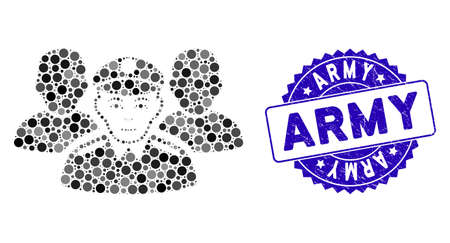 Collage army team icon and grunge stamp seal with Army phrase. Mosaic vector is composed with army team icon and with random circle elements. Army stamp seal uses blue color, and rubber texture.