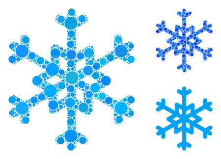 Foto für Snowflake mosaic of circle elements in different sizes and color hues, based on snowflake icon. Vector circle elements are united into blue collage. Dotted snowflake icon in usual and blue versions. - Lizenzfreies Bild