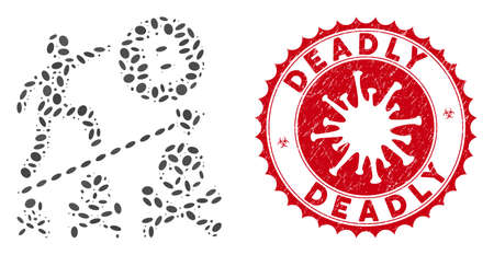 Illustration pour Mosaic deadly Bitcoin achievement icon and red rounded rubber stamp seal with Deadly text and coronavirus symbol. - image libre de droit