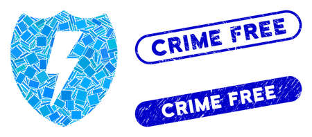 Ilustración de Mosaic electric shield and distressed stamp seals with Crime Free phrase. Mosaic vector electric shield is designed with randomized rectangle items. Crime Free seals use blue color, - Imagen libre de derechos