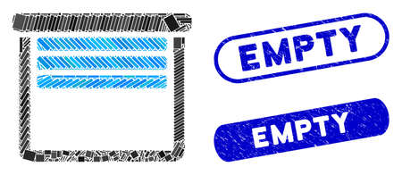Mosaic garage empty and rubber stamp seals with Empty text. Mosaic vector garage empty is designed with randomized rectangle items. Empty stamp seals use blue color, and have round rectangle shape.
