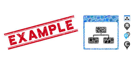 Mosaic site map pictogram and red Example stamp between double parallel lines. Flat vector site map mosaic pictogram of random rotated rectangle elements. Red Example stamp with grunge texture.