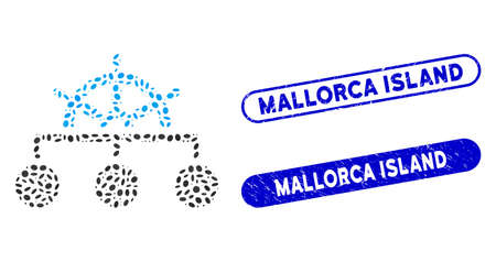 Mosaic rule structure and corroded stamp seals with Mallorca Island phrase. Mosaic vector rule structure is designed with scattered elliptic elements. Mallorca Island stamp seals use blue color,