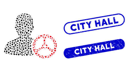 Mosaic driver person and distressed stamp seals with City Hall text. Mosaic vector driver person is composed with random elliptic parts. City Hall stamp seals use blue color,