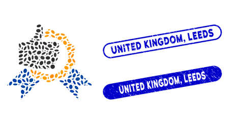 Mosaic excellent and distressed stamp watermarks with United Kingdom, Leeds phrase. Mosaic vector excellent is designed with scattered ellipse dots. United Kingdom, Leeds stamp seals use blue color,