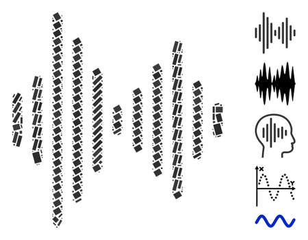 Illustration pour Dotted Mosaic based on audio signal. Mosaic vector audio signal is created with scattered rectangular items. Bonus icons are added. - image libre de droit