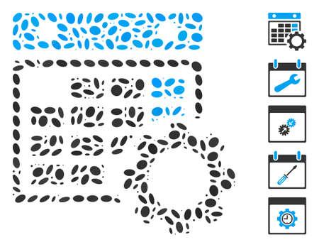 Dot Mosaic based on calendar configuration. Mosaic vector calendar configuration is designed with random elliptic items. Bonus icons are added.