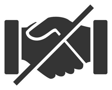Raster no handshakes v2 flat icon. Raster pictogram style is a flat symbol no handshakes v2 icon on a white background.