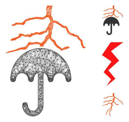 Ilustración de Mesh thunderstorm lightning umbrella polygonal web icon vector illustration. Carcass model is based on thunderstorm lightning umbrella flat icon. - Imagen libre de derechos