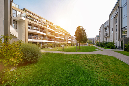 Photo for Modern apartment buildings in a green residential area in the city - Royalty Free Image
