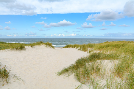 Photo pour View on the beautiful landscape with sand and dunes at the North Sea, Jutland Denmark - image libre de droit