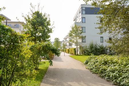 Photo pour Green residential area with apartment buildings in the city, Europe - image libre de droit