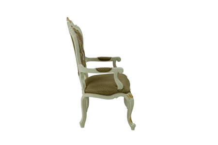 wooden chair with upholstery and armrests on a white background