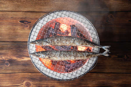 Photo for grilling japanese saury on charcoal grill - Royalty Free Image