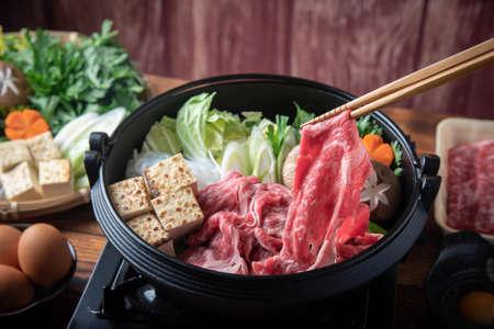 Photo for Sukiyaki, japanese famous beef hot pot  - Royalty Free Image