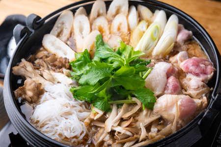 Photo for Kiritanpo Nabe japanese Akita style rice cake in chicken hot pot - Royalty Free Image