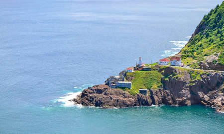 Canadian National Historic Site, Fort Amherst in St John's Newfoundland, Rugged coastline and Atlantic ocean. Warm summer day in August.  Views from atop historically famous Signal Hill in St. John's.