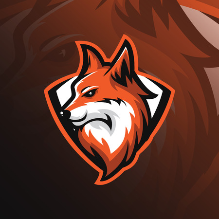 Illustration for Fox logo mascot design vector with modern and emblem style. fox head illustration for sport team and printing tshirt. - Royalty Free Image