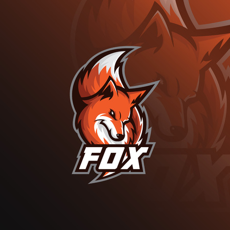 Illustration for Fox logo mascot sport illustration. modern icons for logos and emblem. - Royalty Free Image