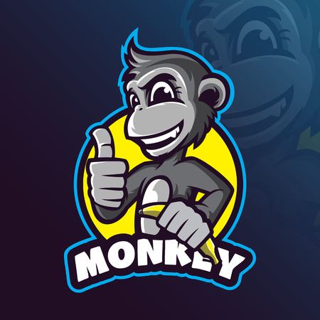 Illustration pour monkey mascot logo design vector with modern illustration concept style for badge, emblem and tshirt printing. smart monkey illustration with a banana in hand. - image libre de droit