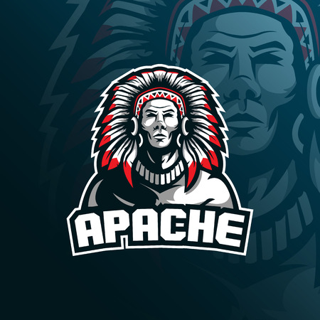 Illustration pour tribe apache vector mascot logo design with modern illustration concept style for badge, emblem and tshirt printing. tribe illustration for sport and esport team. - image libre de droit