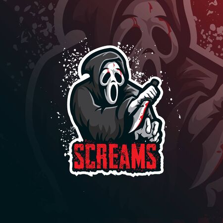 Illustration pour scream mascot logo design vector with modern illustration concept style for badge, emblem and tshirt printing. scream illustration with a knife. - image libre de droit