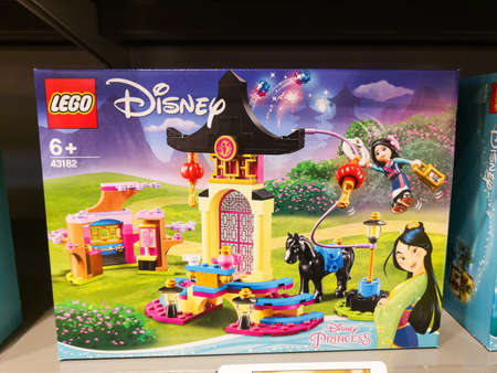 Photo for Construction set Mulan training ground LEGO Disney Princess 43182 in a shopping center on a shelf in the childrens toy department May 2020 in Russia, Tatarstan, Kazan, Victory Avenue 141 - Royalty Free Image
