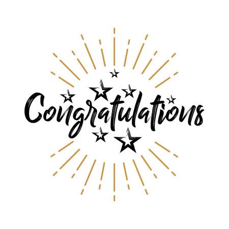 Illustration pour Congratulations - Fireworks - Grunge, Handwritten vector illustration, brush pen lettering, for greeting - image libre de droit
