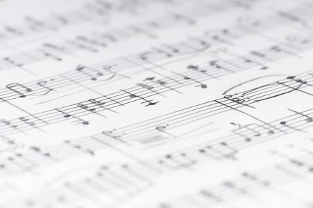 Handwritten musical notes, shallow DOF